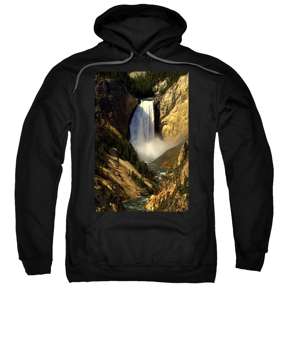 Yellowstone National Park Sweatshirt featuring the photograph Lower Falls 2 by Marty Koch