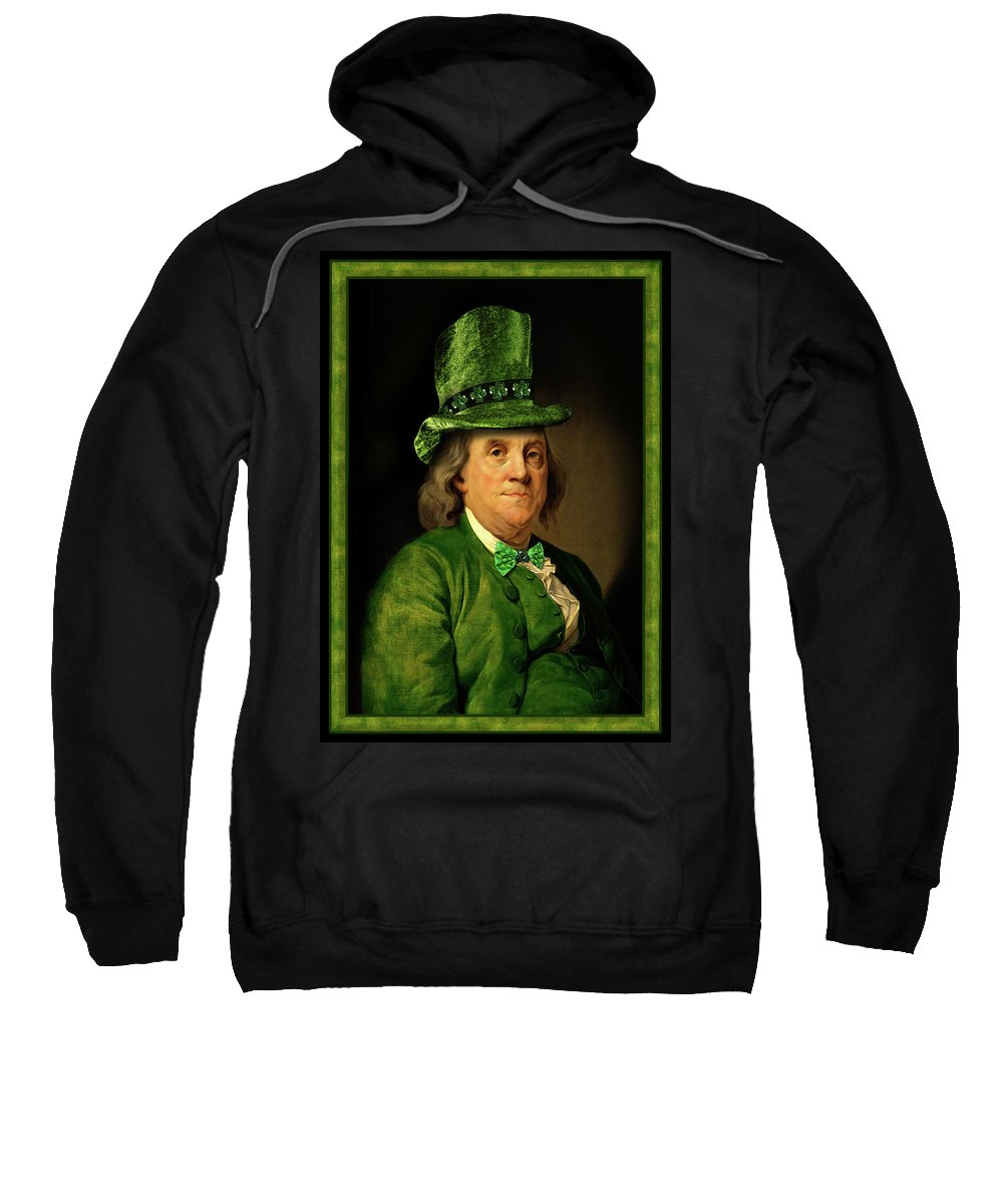 Ben Franklin Sweatshirt featuring the mixed media Lucky Ben Franklin In Green by Gravityx9 Designs