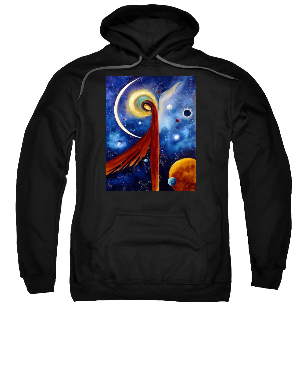 Angel Sweatshirt featuring the painting Lunar Angel by Marina Petro