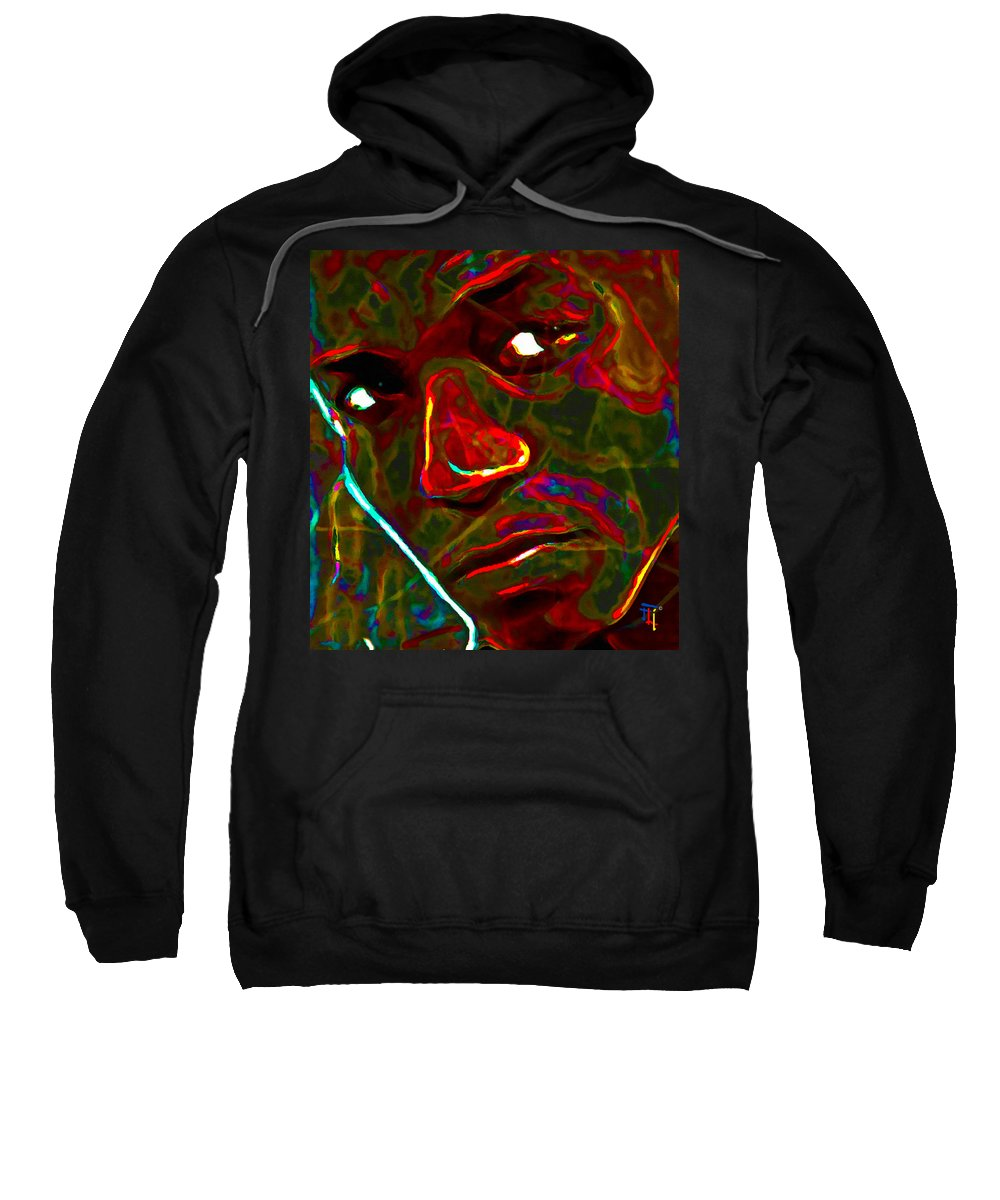 Abstract Art Sweatshirt featuring the painting Lupe Fiasco by Fli Art