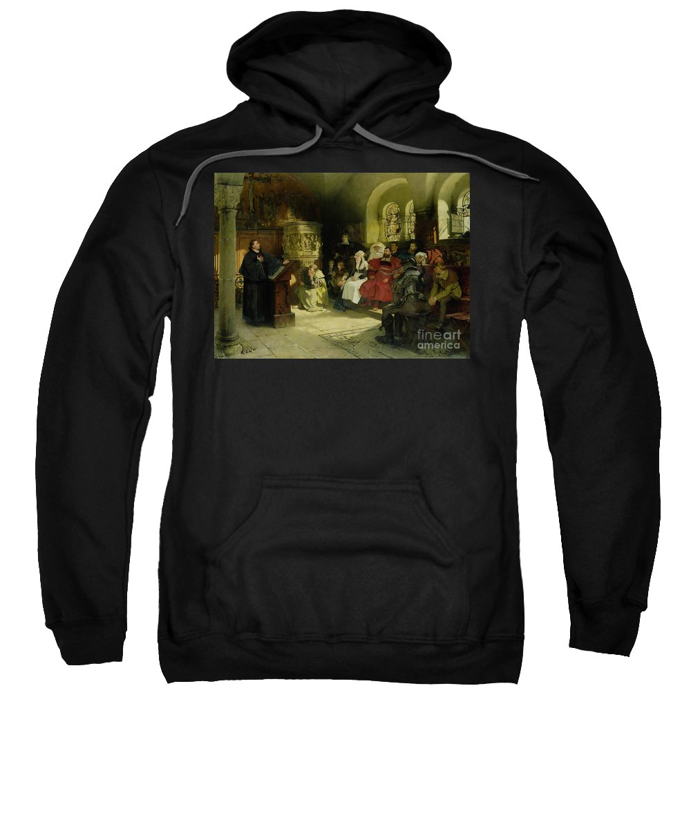 Vogel Sweatshirt featuring the painting Luther Preaches Using His Bible Translation While Imprisoned At Wartburg by Hugo Vogel