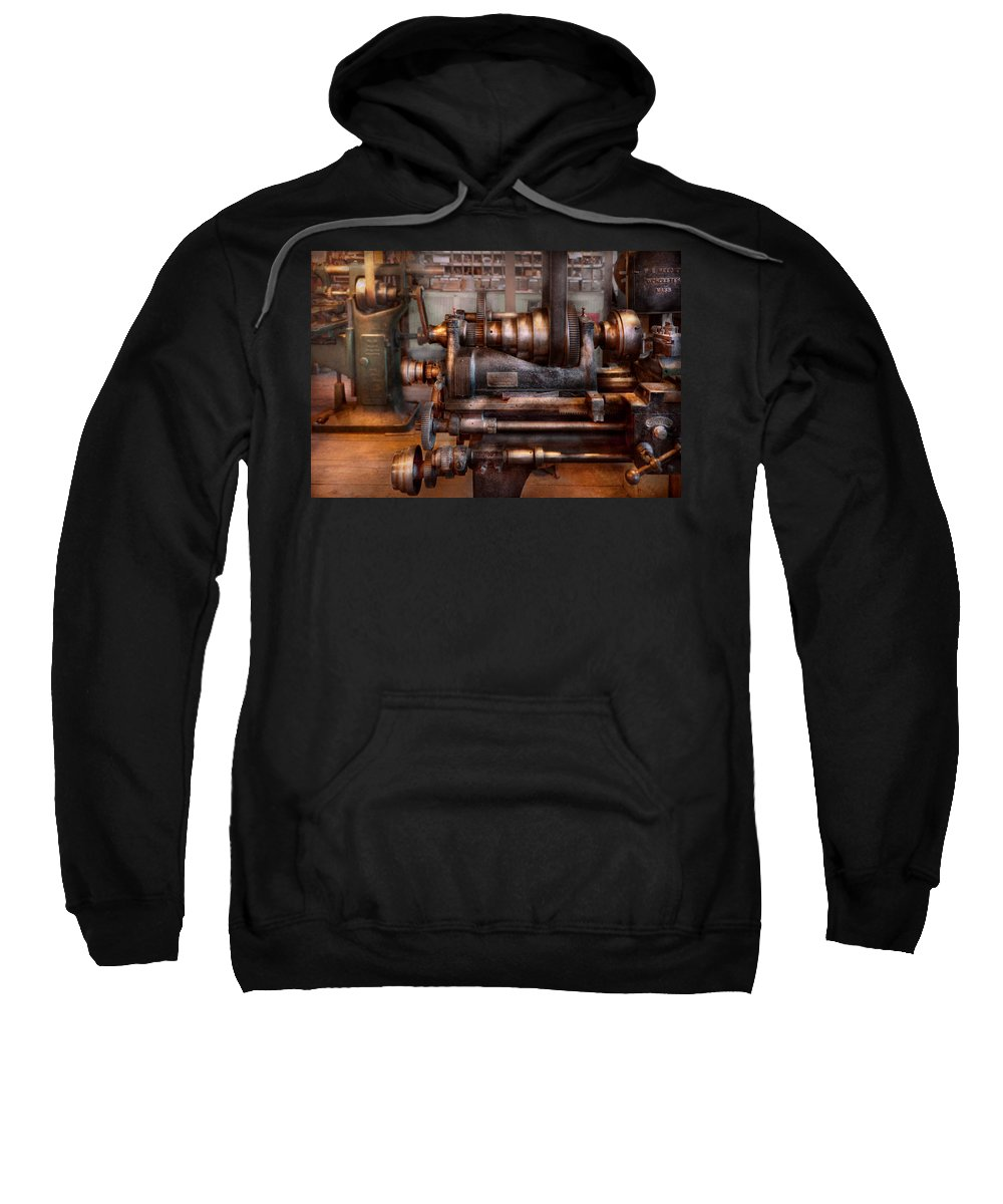 Machinist Sweatshirt featuring the photograph Machinist - Steampunk - 5 Speed Semi Automatic by Mike Savad