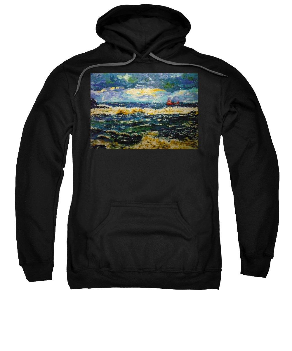 Sea Sweatshirt featuring the painting Mad Sea by Ericka Herazo