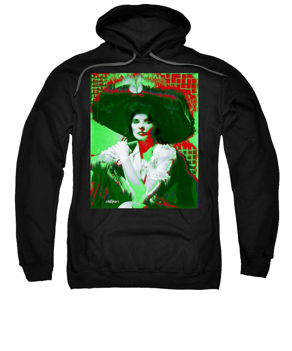 Katherine Hepburn Sweatshirt featuring the digital art Madame Kate And The Big Hat by Seth Weaver