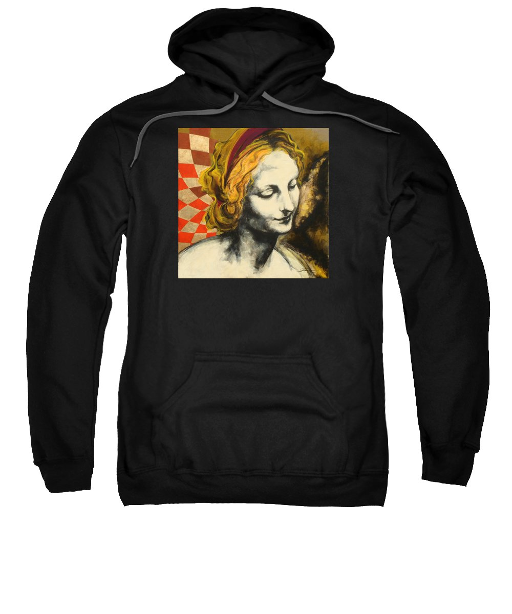 Pop Sweatshirt featuring the painting Madona Face by Jean Pierre Rousselet