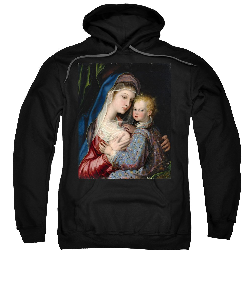 Giovanni Bernardo Lama Sweatshirt featuring the painting Madonna And Child by Giovanni Bernardo Lama