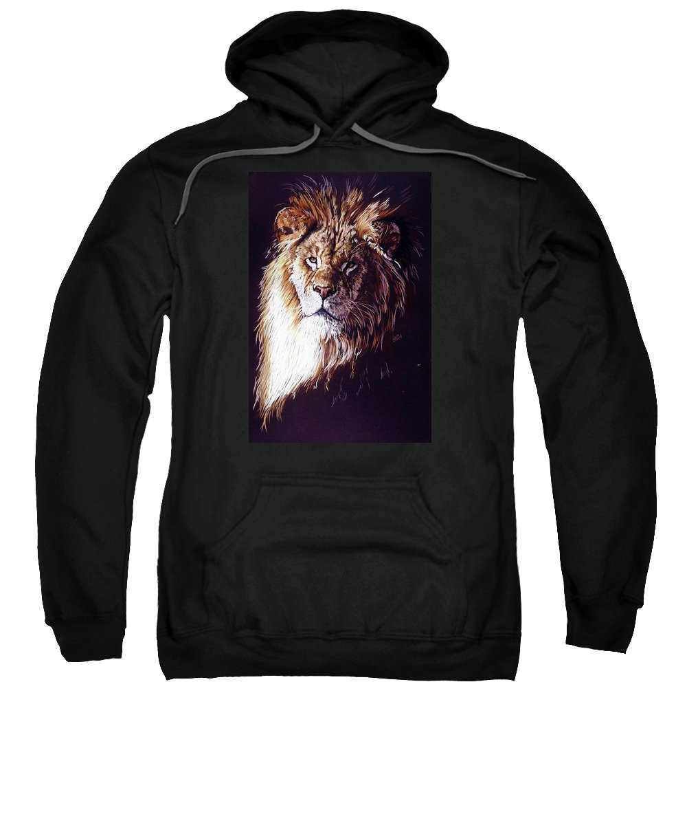 Lion Sweatshirt featuring the drawing Maestro by Barbara Keith
