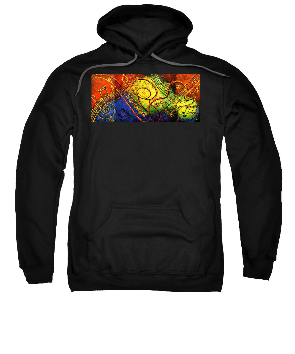 West Coast Jazz Sweatshirt featuring the painting Magic Guitar by Leon Zernitsky