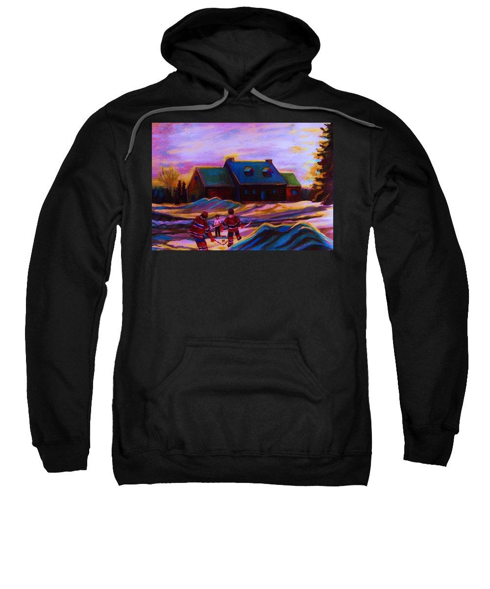 Hockey Sweatshirt featuring the painting Magical Day For Hockey by Carole Spandau