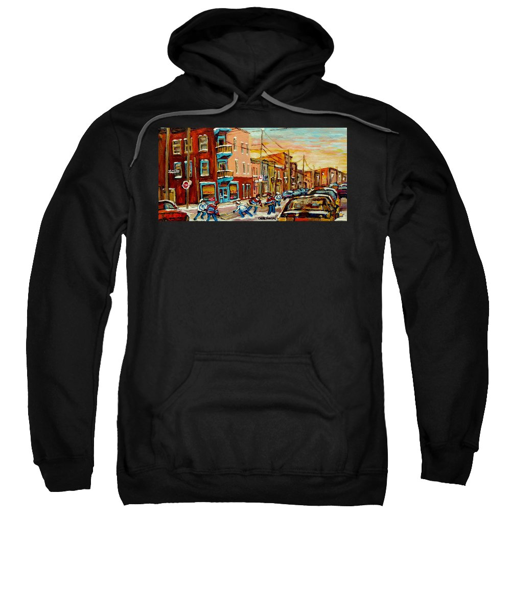 Hockey Sweatshirt featuring the painting Magical Hockey Game by Carole Spandau
