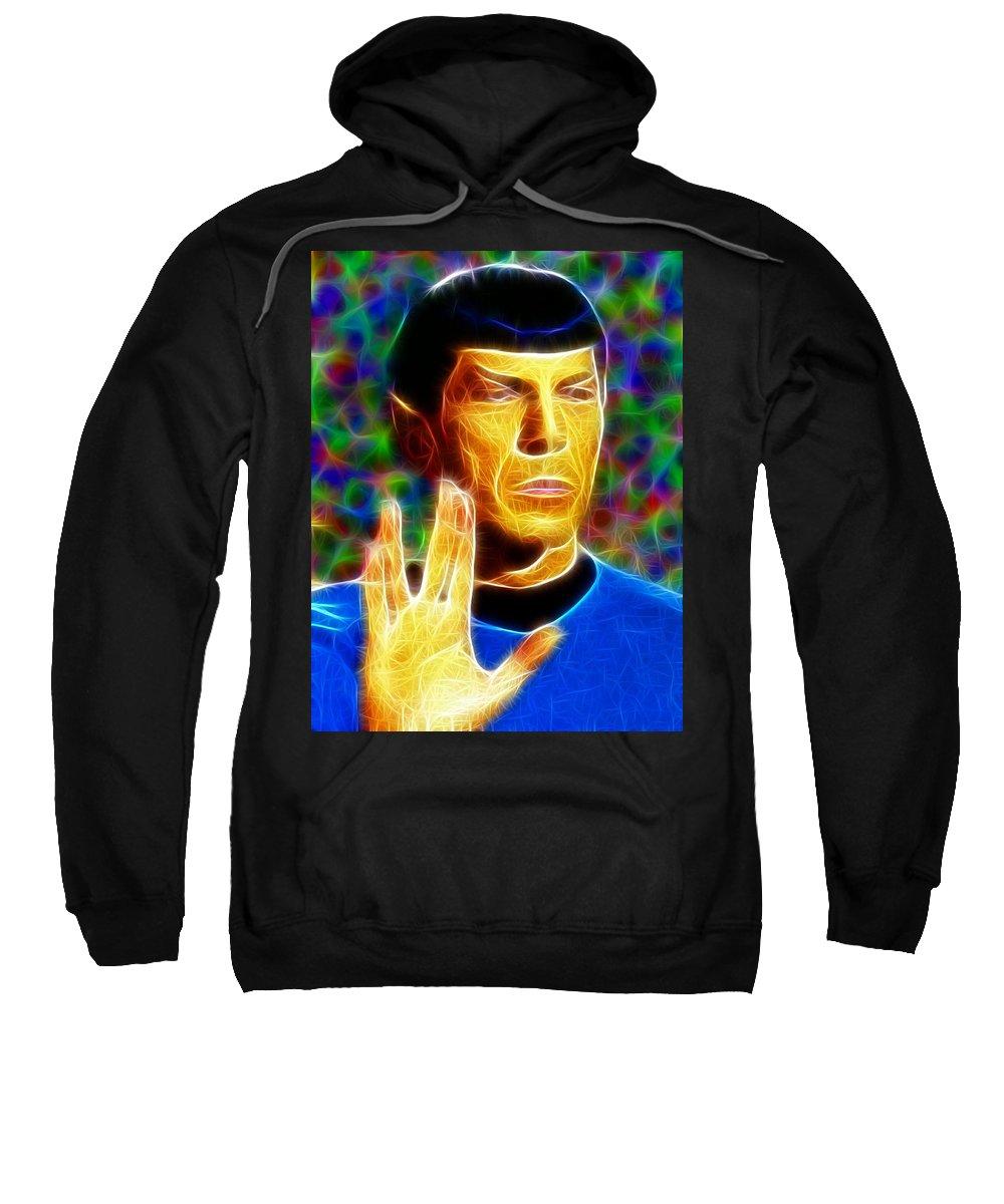 Spock Sweatshirt featuring the painting Magical Mr. Spock by Paul Van Scott