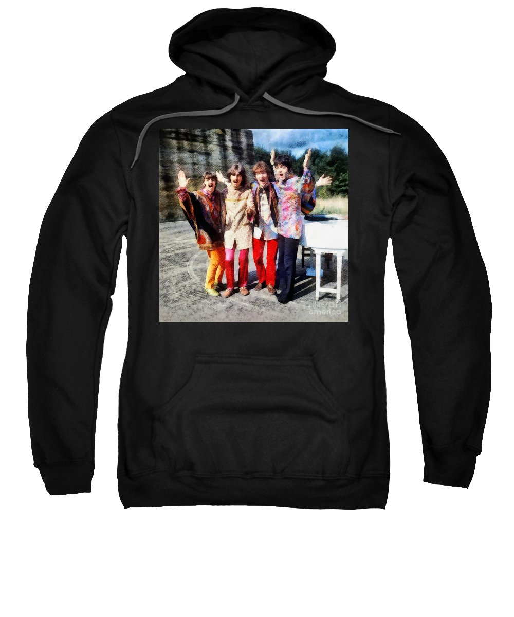 Hollywood Sweatshirt featuring the painting Magical Mystery Tour, The Beatles by Esoterica Art Agency