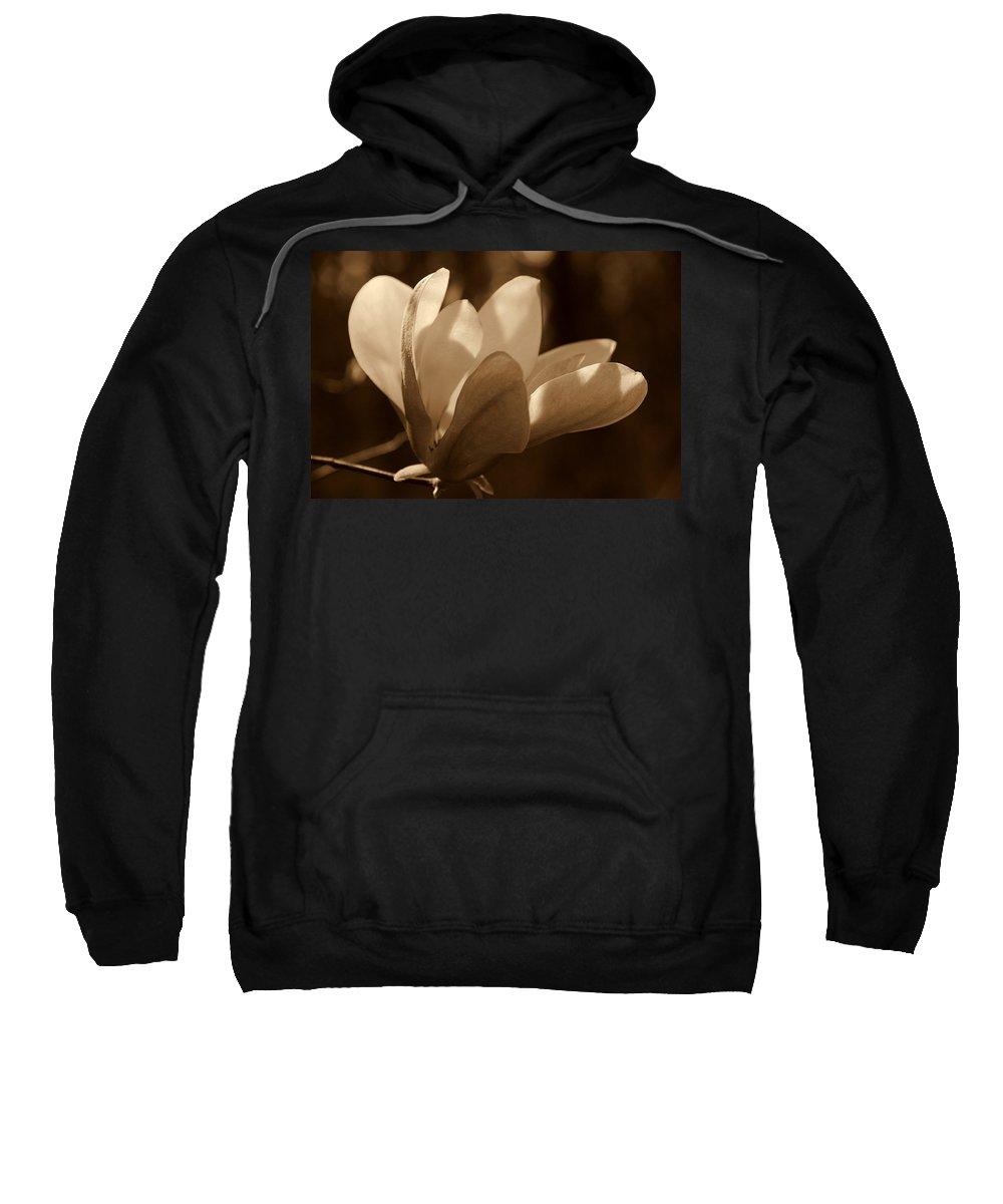 Magnolia Sweatshirt featuring the photograph Magnolia Blossom Bw by Susanne Van Hulst