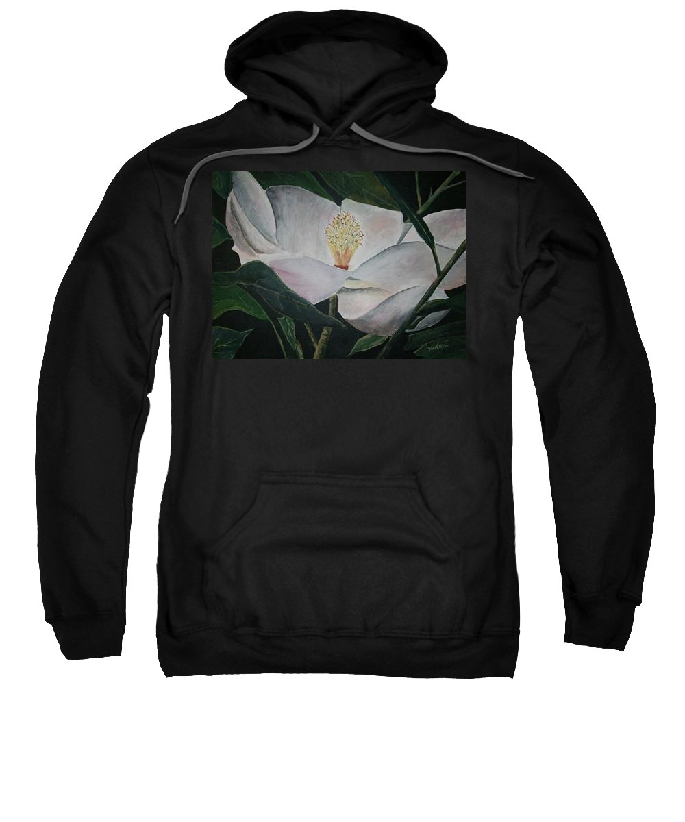 Oils Sweatshirt featuring the painting Magnolia Flower Oil Painting by Derek Mccrea
