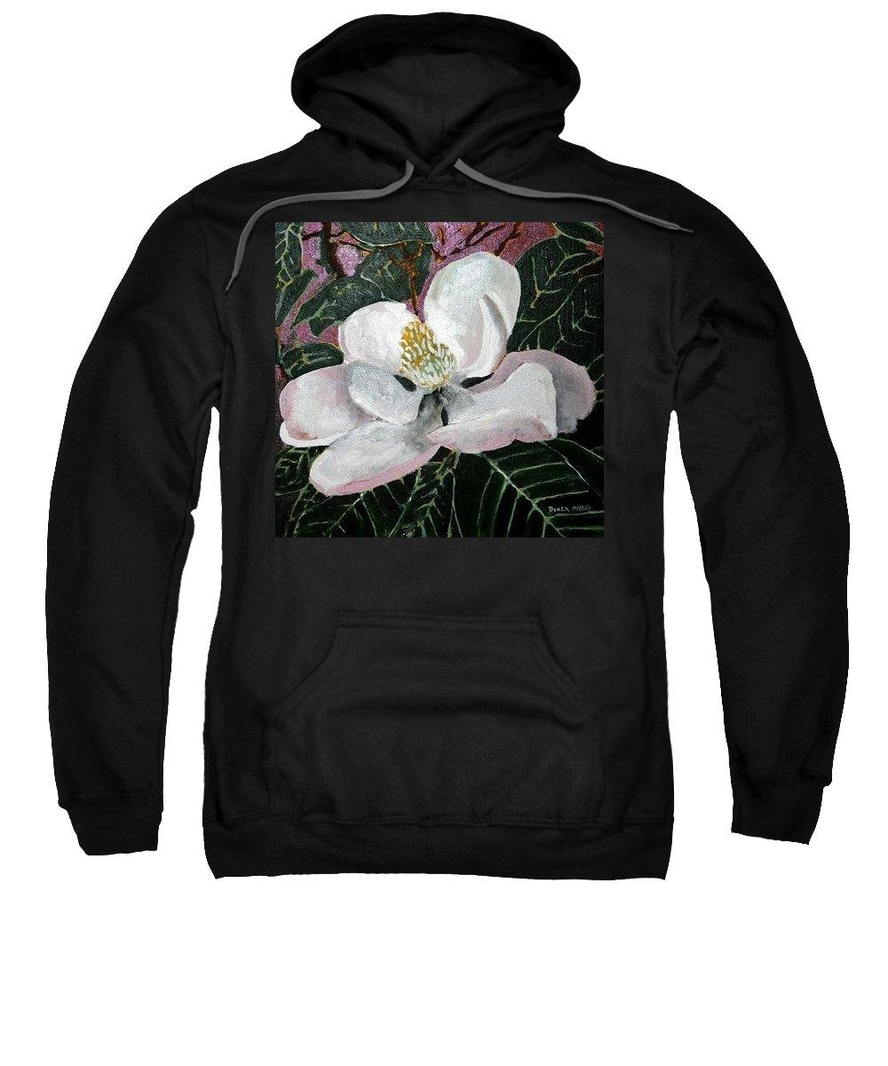 Acrylic Sweatshirt featuring the painting Magnolia Flower Painting by Derek Mccrea
