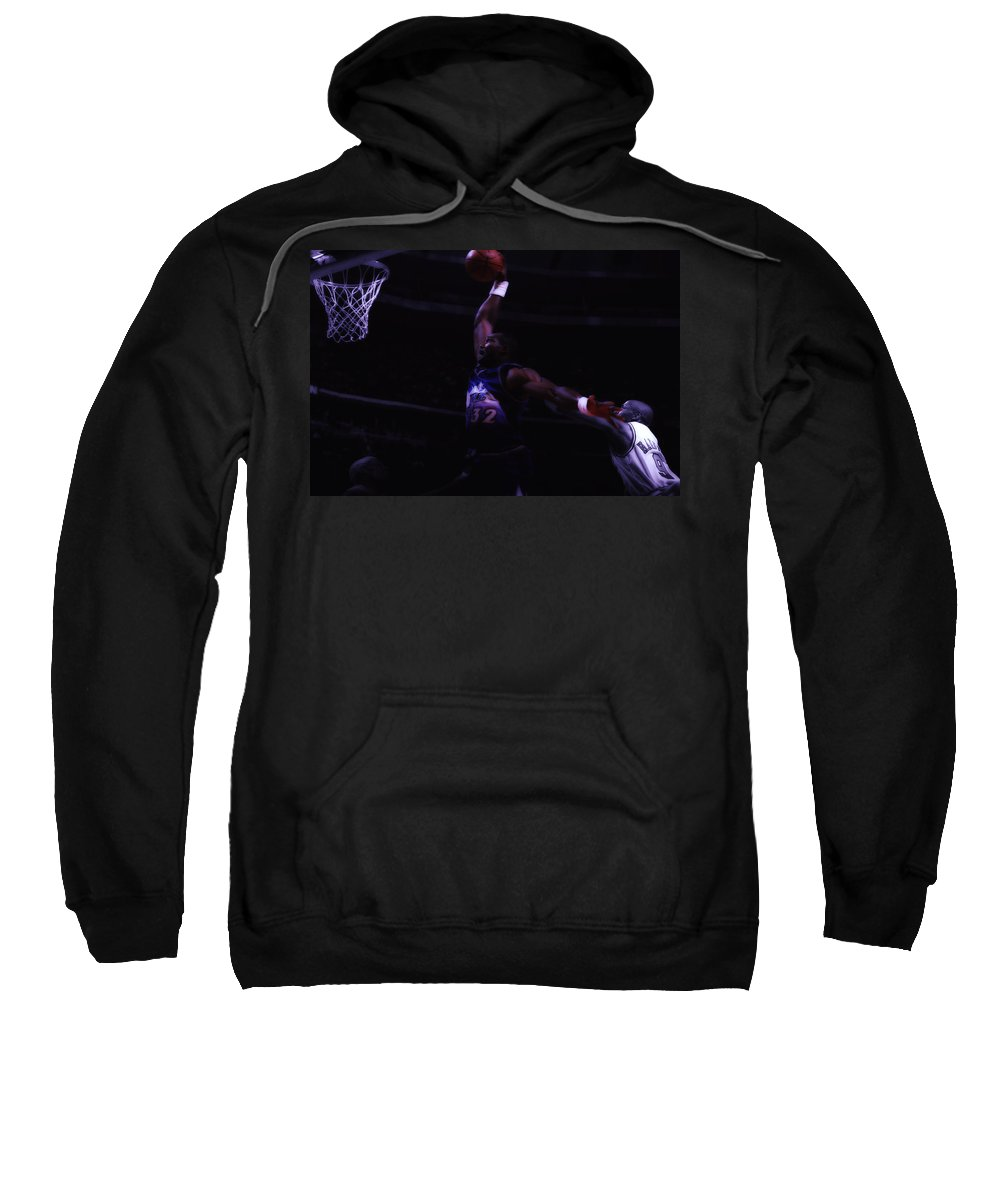 Karl Malone Sweatshirt featuring the digital art Mailman Midnight Delivery by Brian Reaves