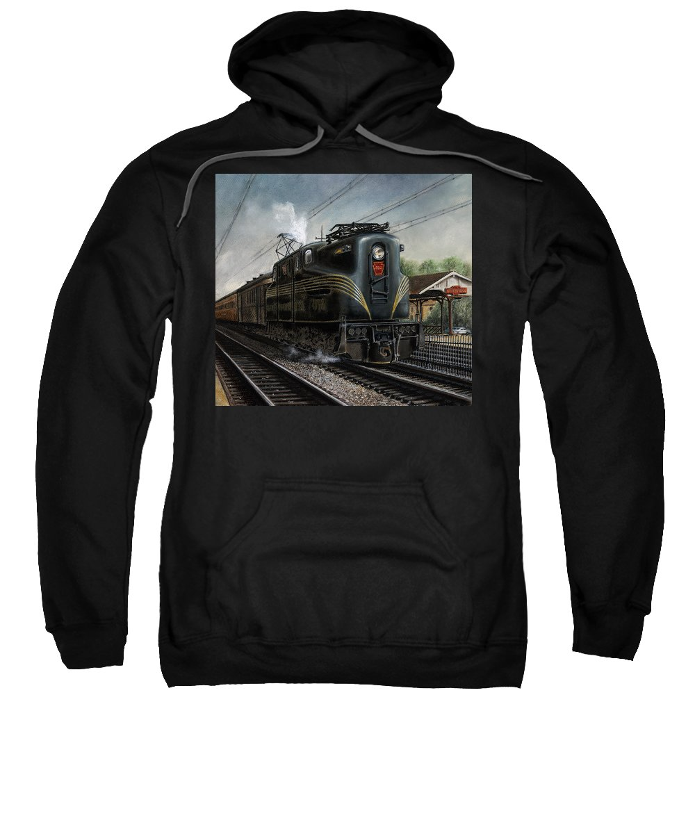 Trains Sweatshirt featuring the painting Mainline Memories by David Mittner