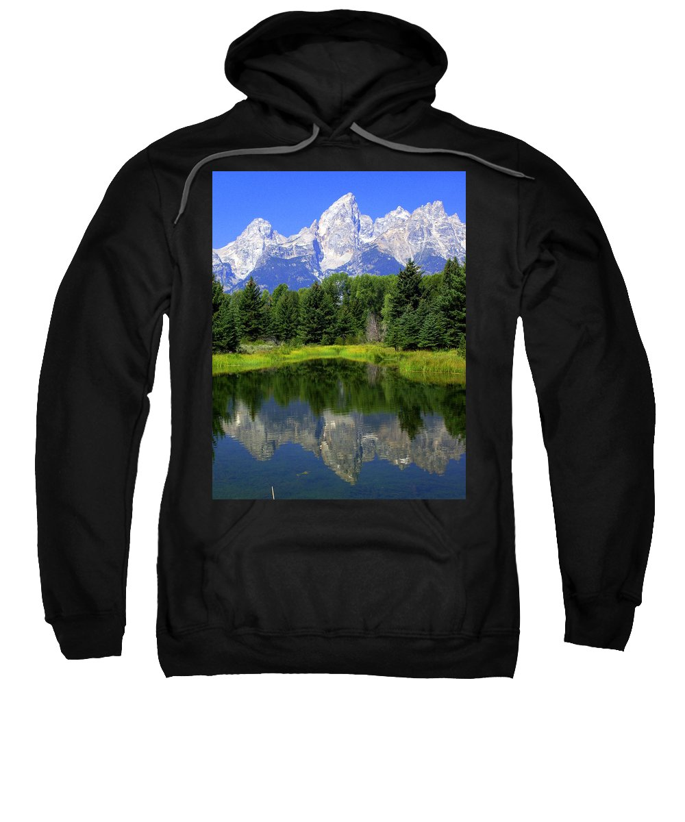 Grand Teton National Park Sweatshirt featuring the photograph Majestic Tetons by Marty Koch