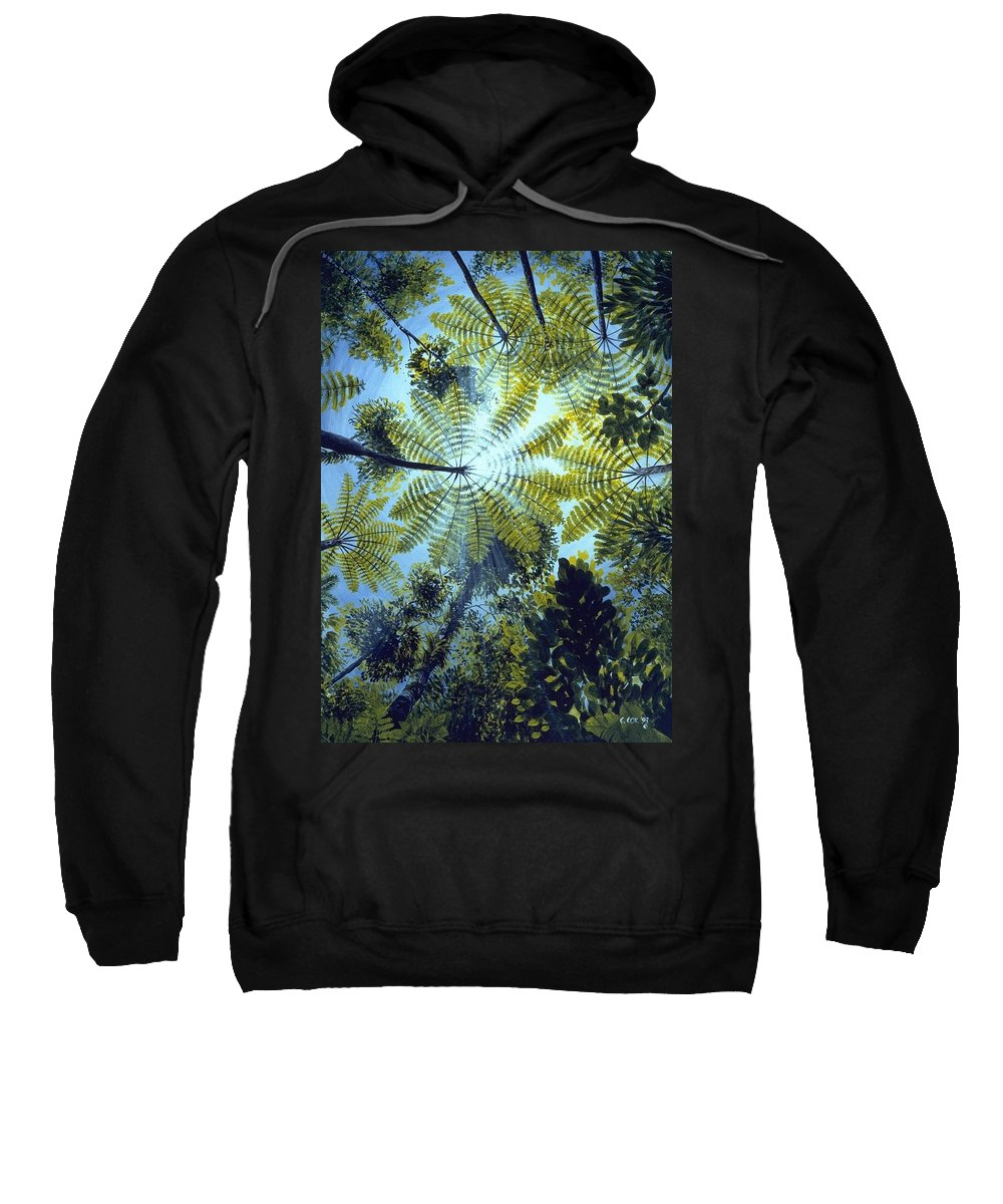 Chris Cox Sweatshirt featuring the painting Majestic Treeferns by Christopher Cox