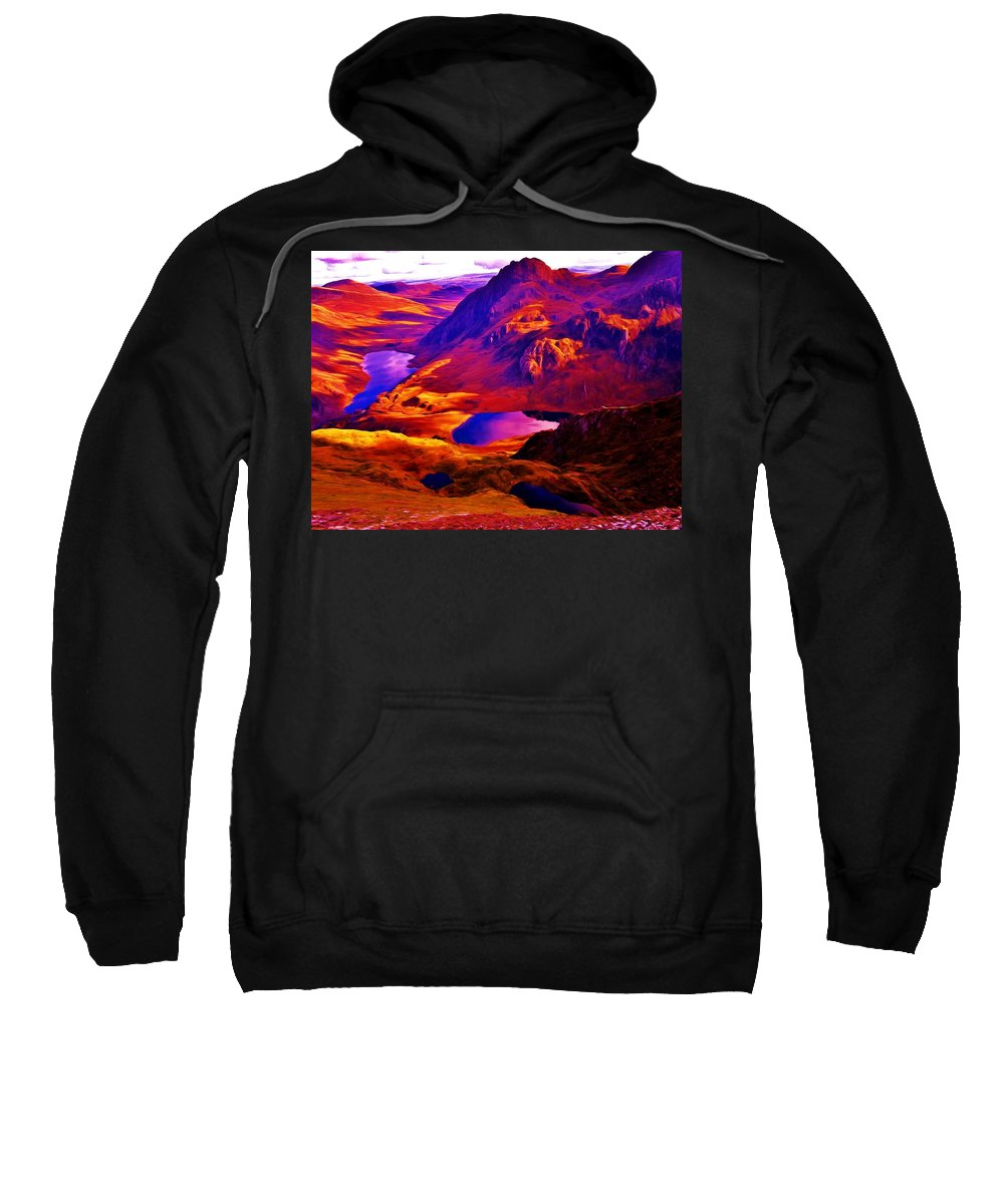 Majestic Wales Sweatshirt featuring the painting Majestic Wales by David Sanders