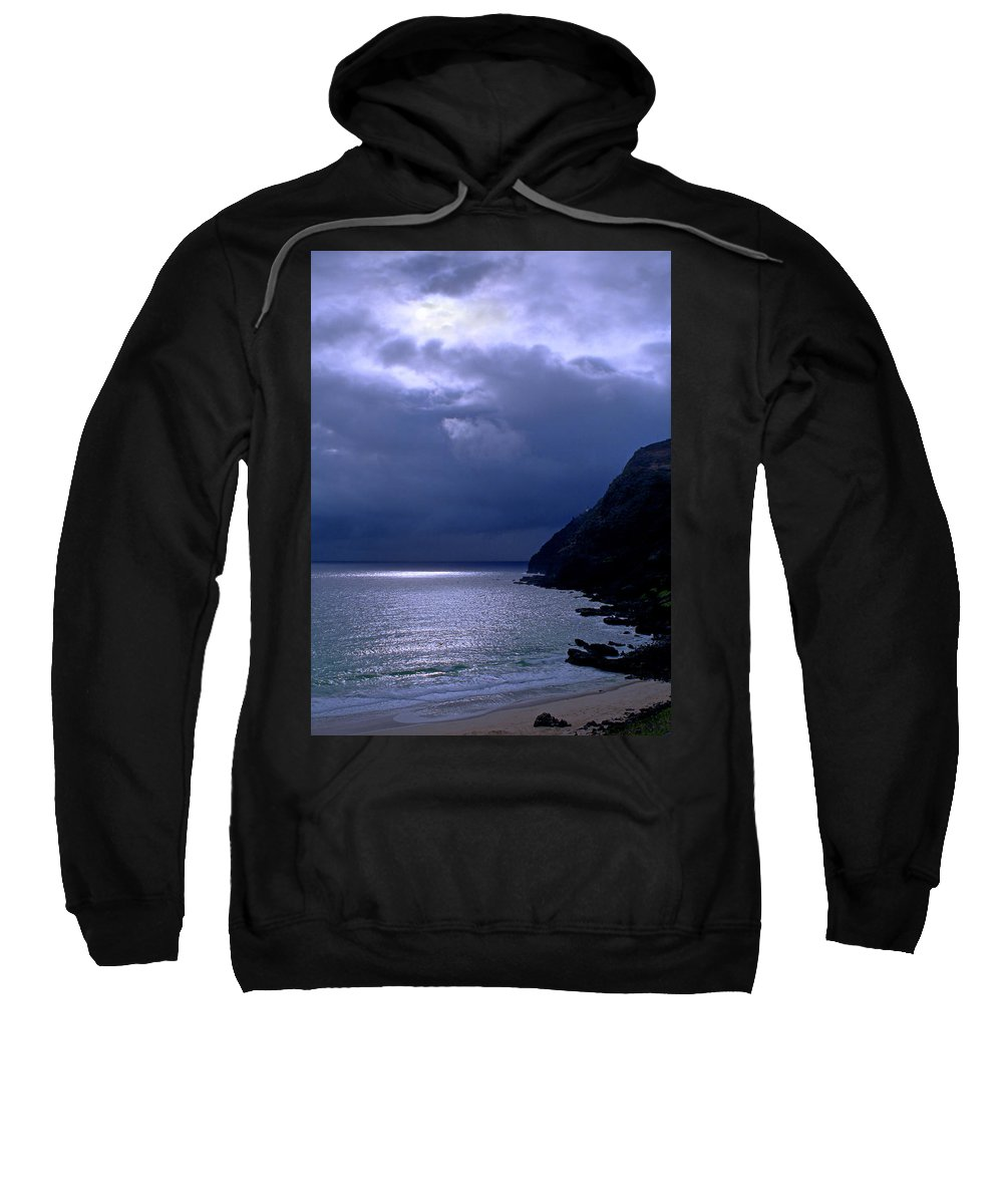 Makapuu Sweatshirt featuring the photograph Makapuu Moon by Kevin Smith