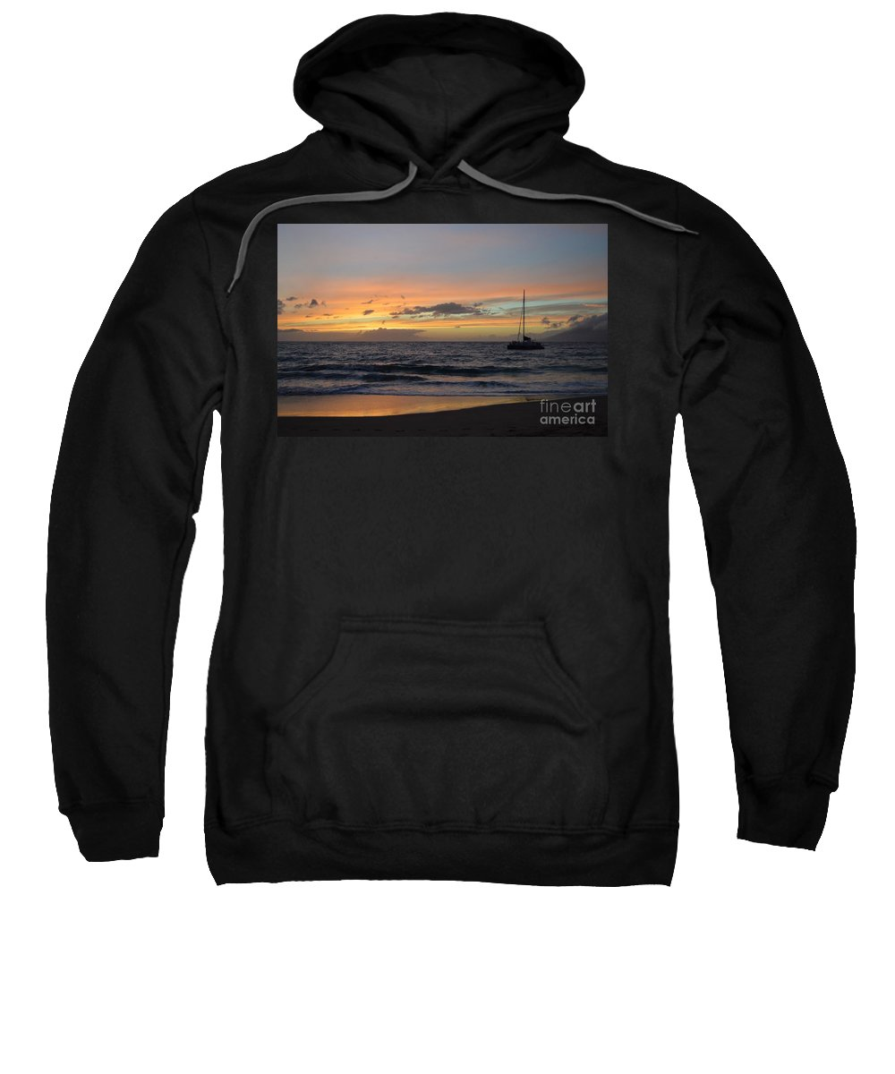 Maui Sweatshirt featuring the photograph Makena Sunset by Michelle Welles