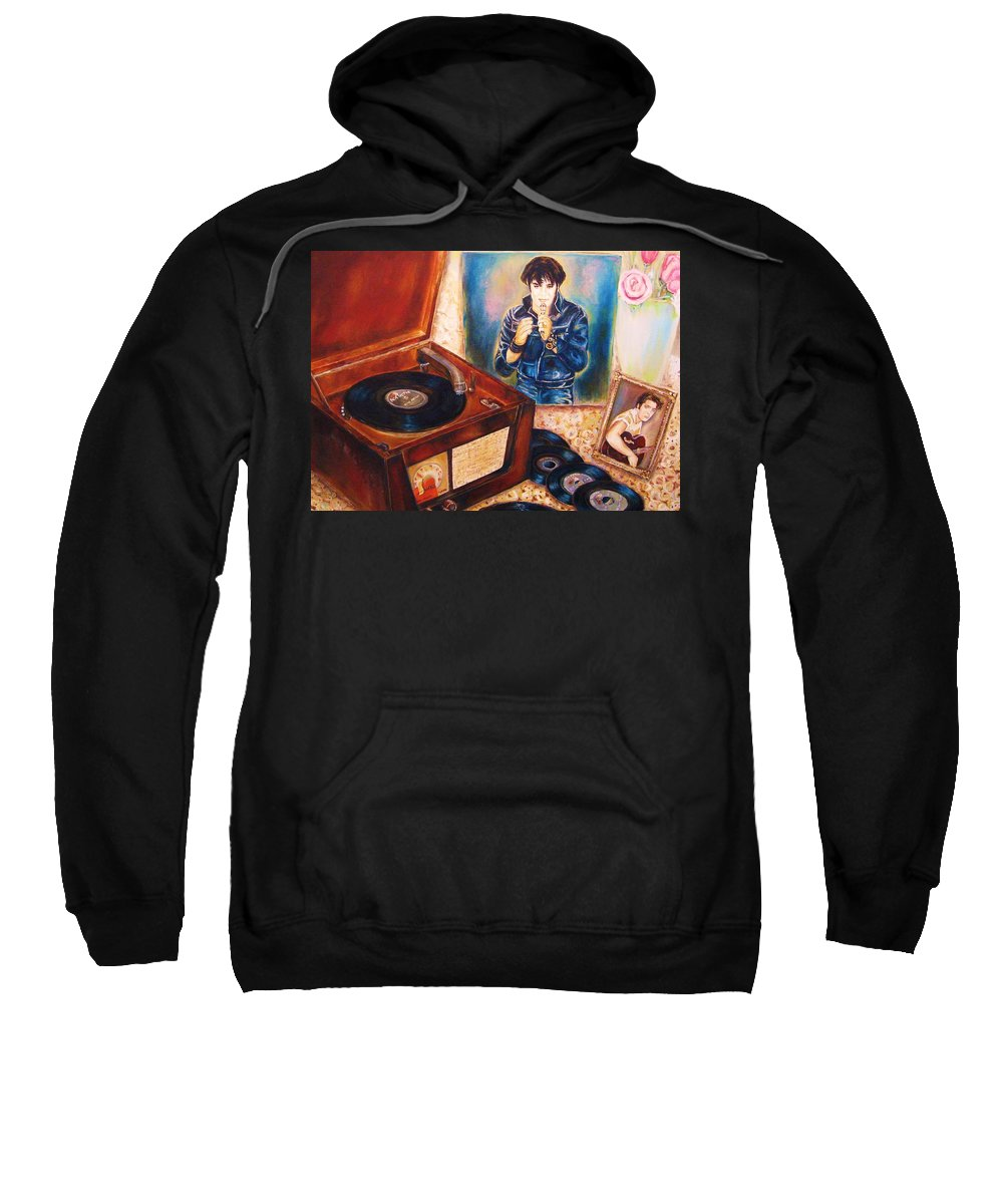 Elvis Sweatshirt featuring the painting Mama Loved The Roses by Carole Spandau