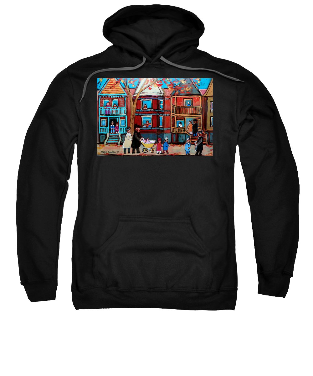Hassidic Community Sweatshirt featuring the painting Mama Papa And New Baby by Carole Spandau