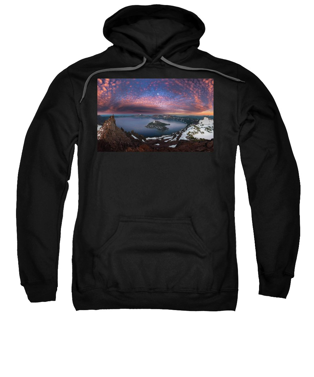 Crater Sweatshirt featuring the photograph Man On Hilltop Viewing Crater Lake With Full Moon by William Freebilly photography