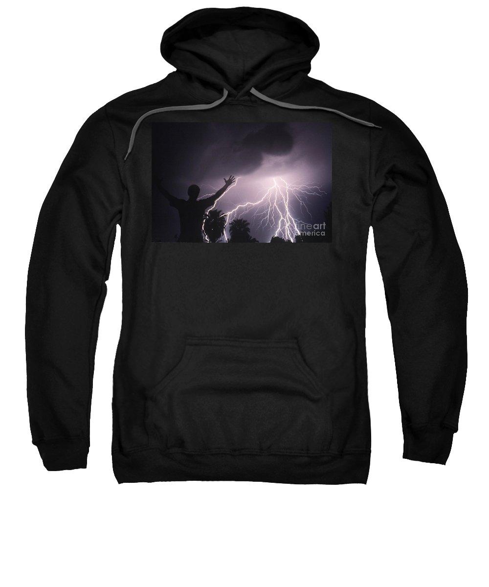 Lightning Sweatshirt featuring the photograph Man With Lightning, Arizona by Kent Wood