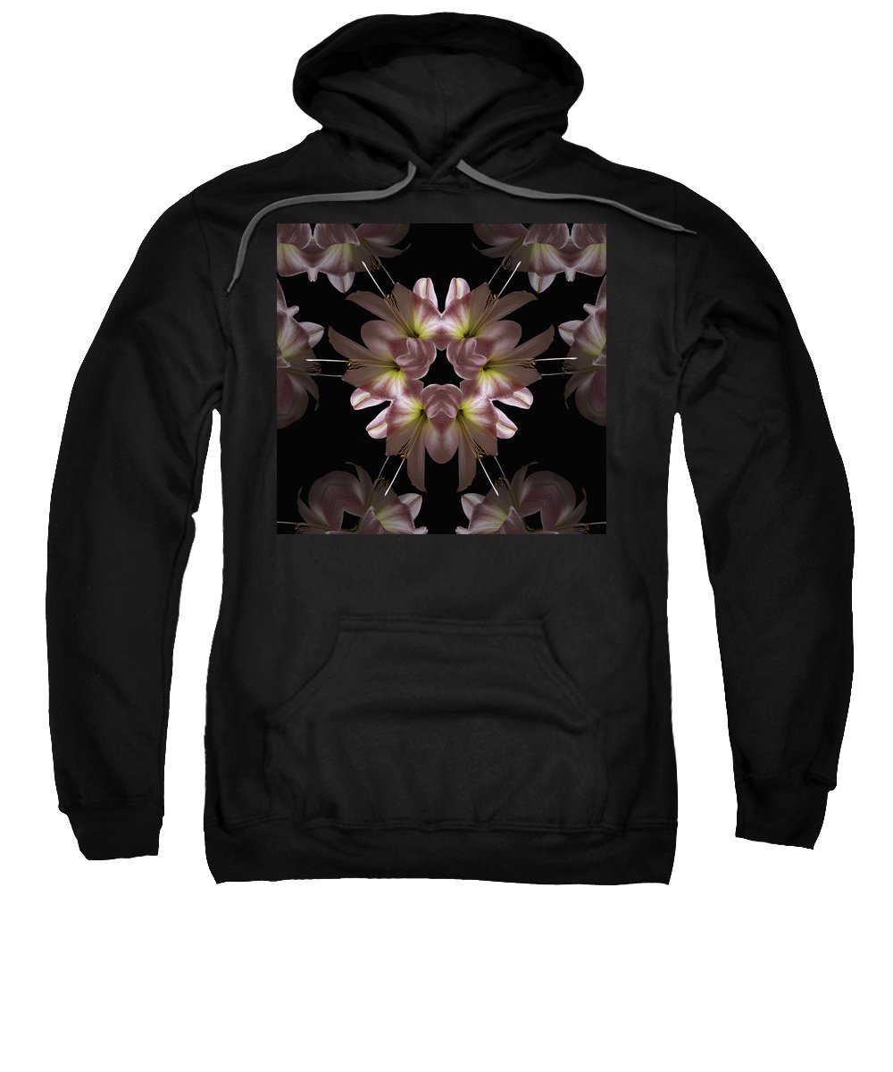 Mandala Sweatshirt featuring the digital art Mandala Amarylis by Nancy Griswold