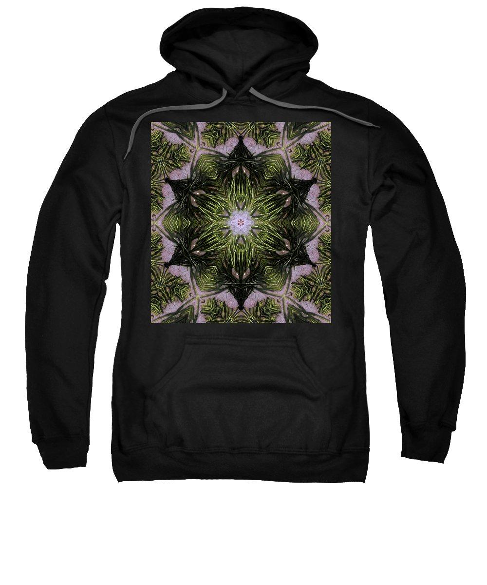 Mandala Sweatshirt featuring the digital art Mandala Sea Sponge by Nancy Griswold