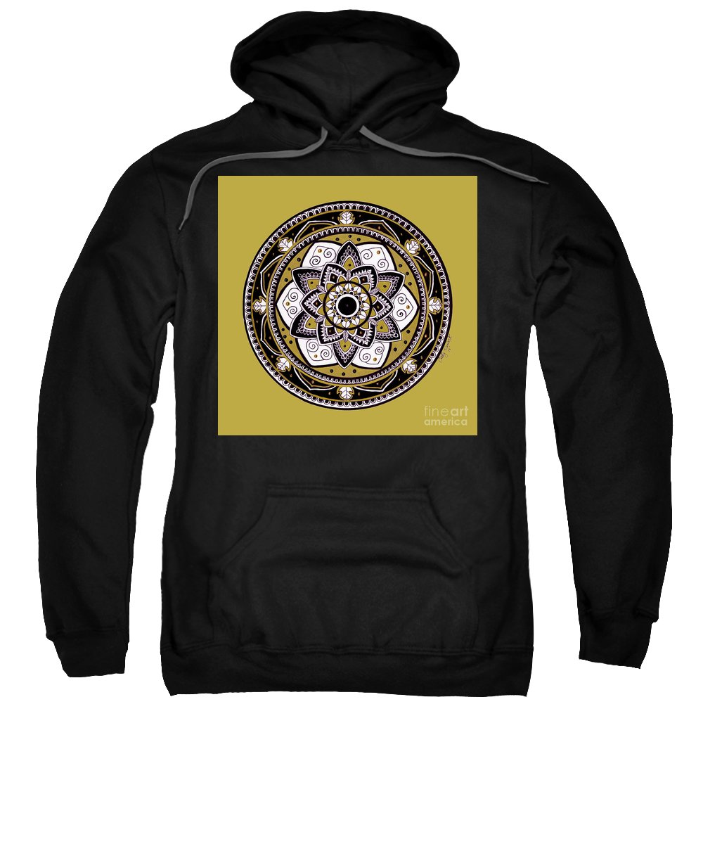 Mandala Sweatshirt featuring the drawing Diva Mandala by Cathy Siewert