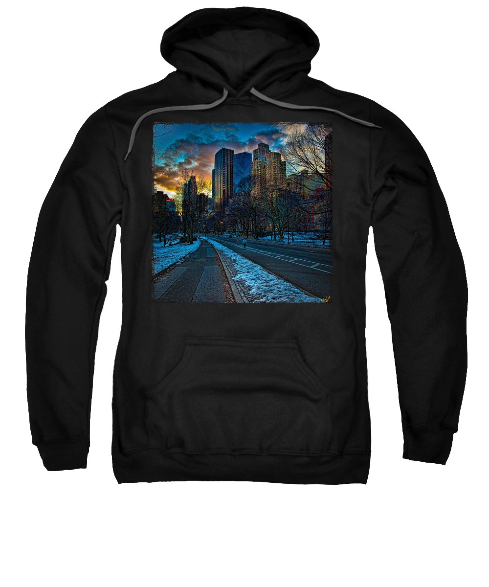 Central Park Sweatshirt featuring the photograph Manhattan Sunset by Chris Lord