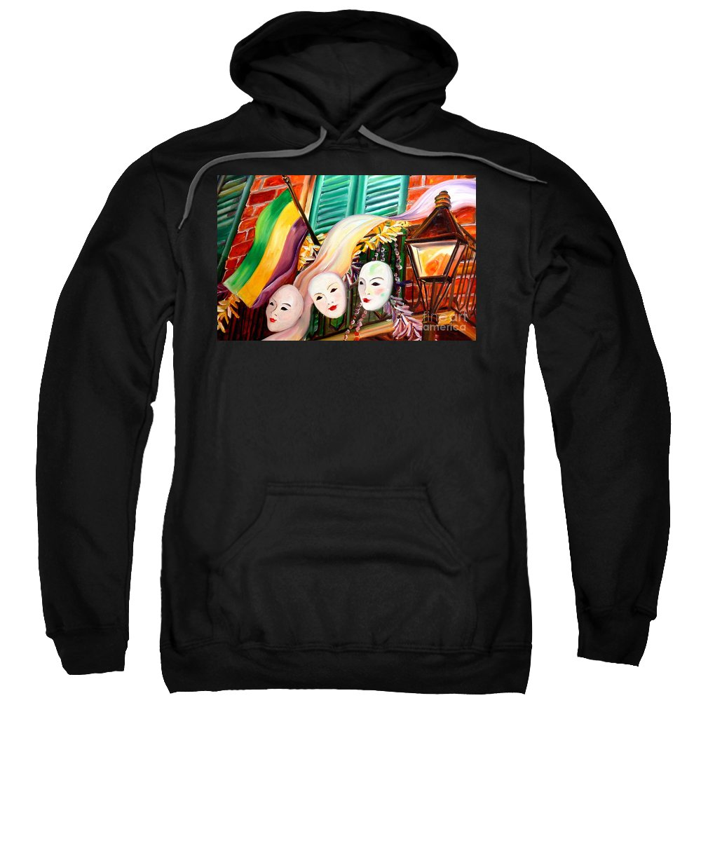New Orleans Sweatshirt featuring the painting Mardi Gras Balcony by Diane Millsap