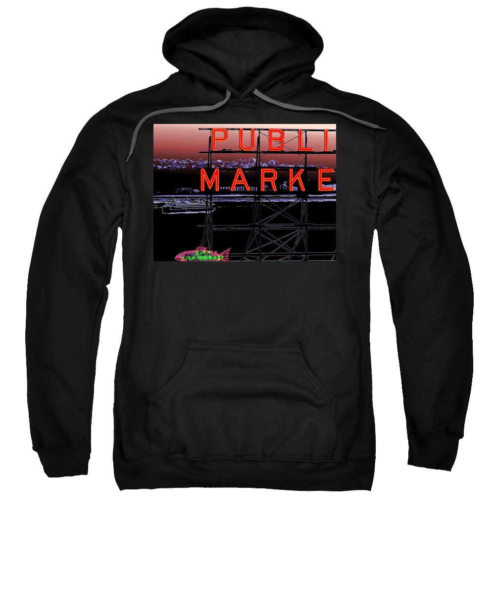 Seattle Sweatshirt featuring the digital art Market Ferry 2 by Tim Allen