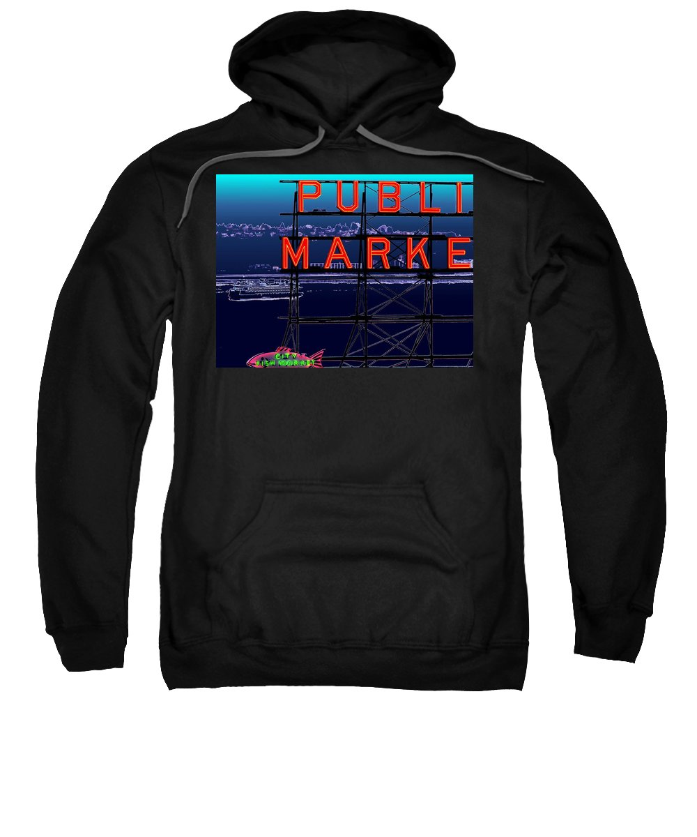 Seattle Sweatshirt featuring the digital art Market Ferry by Tim Allen
