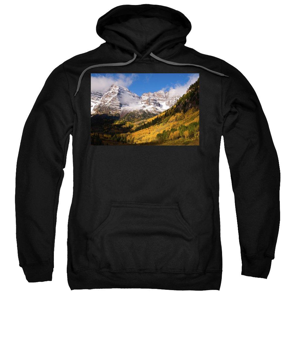 Colorado Sweatshirt featuring the photograph Maroon Bells by Steve Stuller