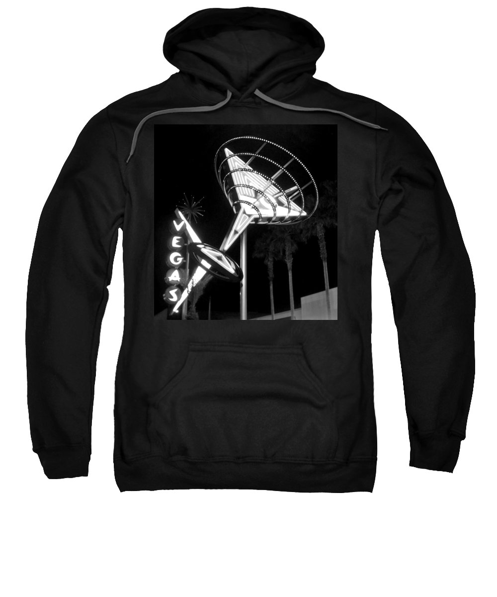 Martini Sweatshirt featuring the photograph Martini Sign In Vegas B-w by Anita Burgermeister