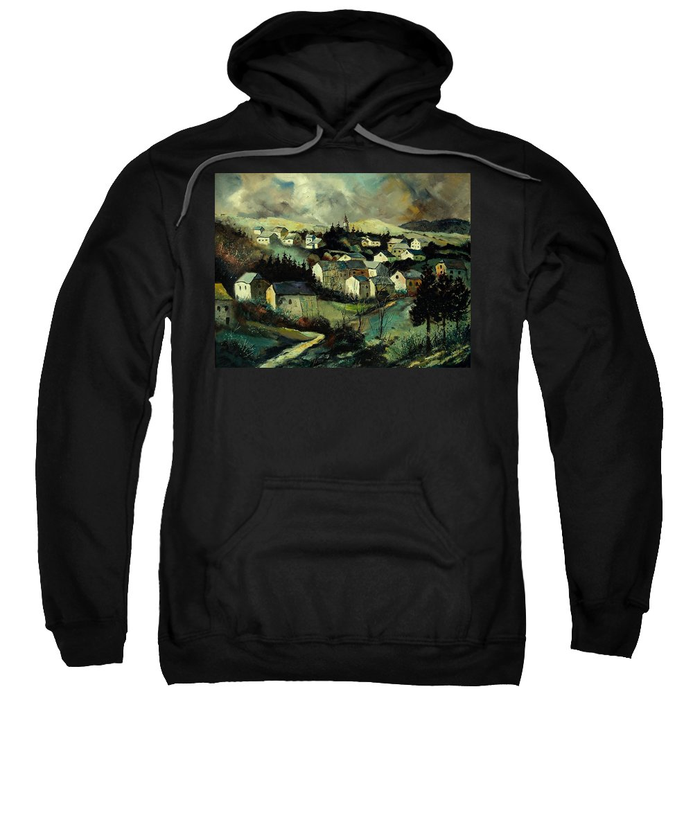 Winter Sweatshirt featuring the painting Masbourg by Pol Ledent