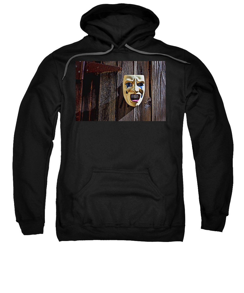 Mask Sweatshirt featuring the photograph Mask On Barn Door by Garry Gay