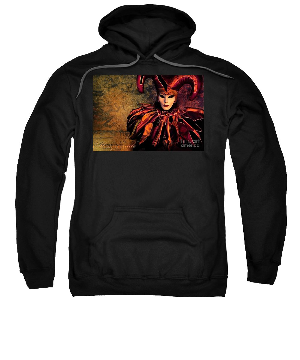 Mask Sweatshirt featuring the photograph Masquerade by Jacky Gerritsen