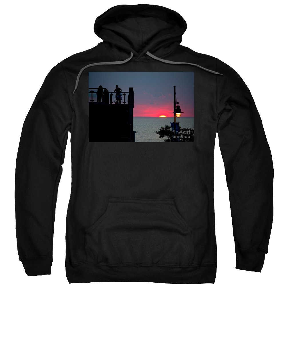 Grand Bend Sweatshirt featuring the photograph Matching July Lights by John Scatcherd