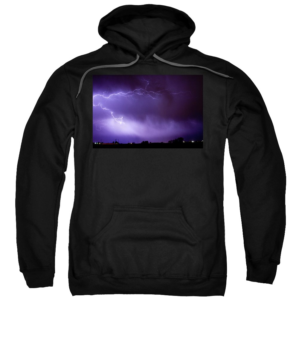 Bo Insogna Sweatshirt featuring the photograph May Showers 2 In Color - Lightning Thunderstorm 5-10-11 Boulder by James BO Insogna