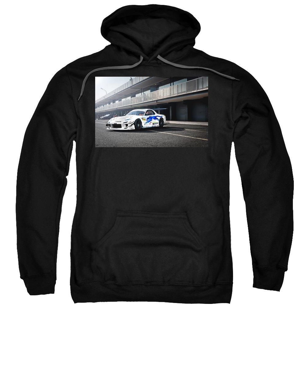 Mazda Rx-7 Sweatshirt featuring the digital art Mazda Rx-7 by Bert Mailer