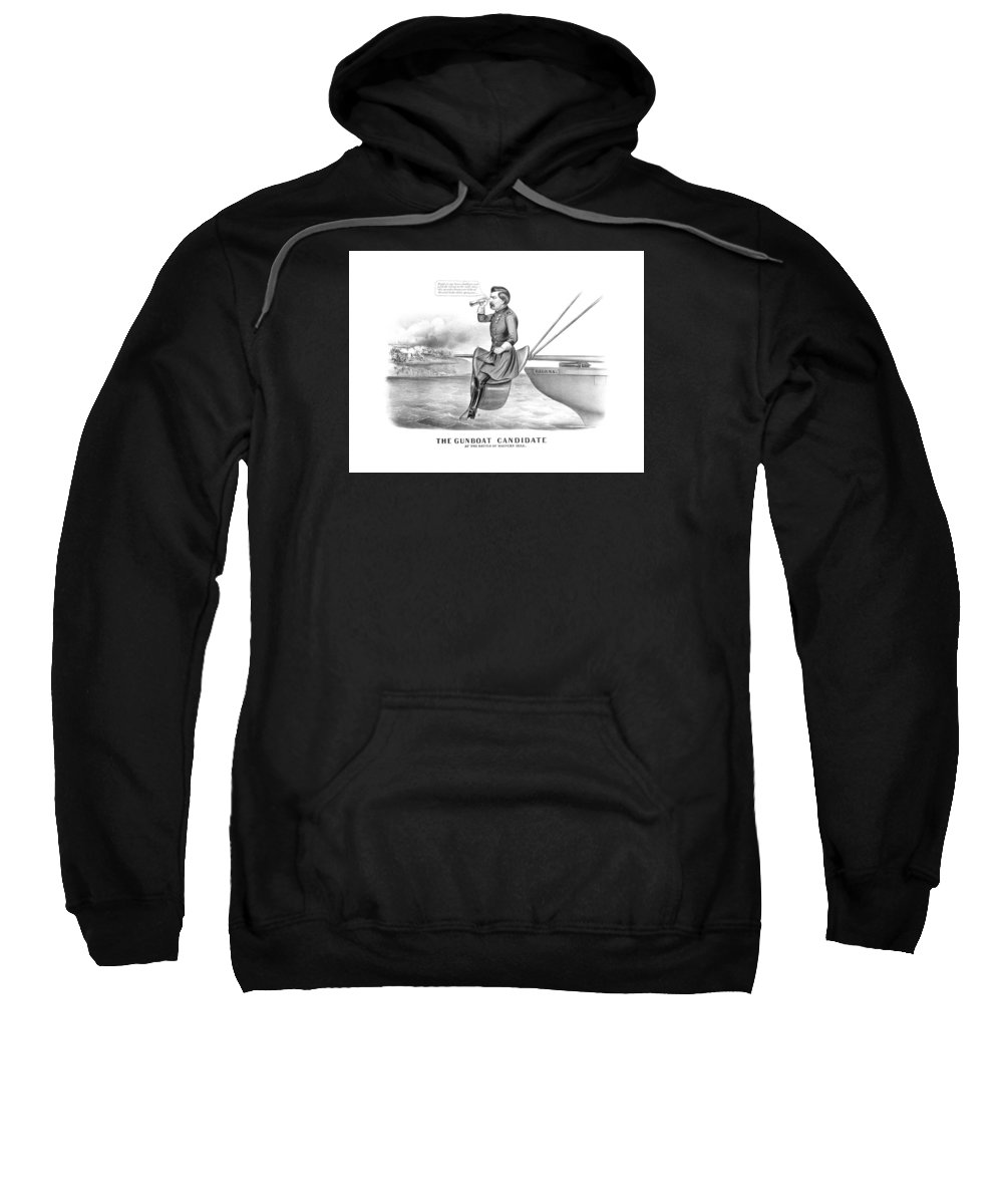 George Mcclellan Sweatshirt featuring the drawing Mcclellan The Gunboat Candidate by War Is Hell Store