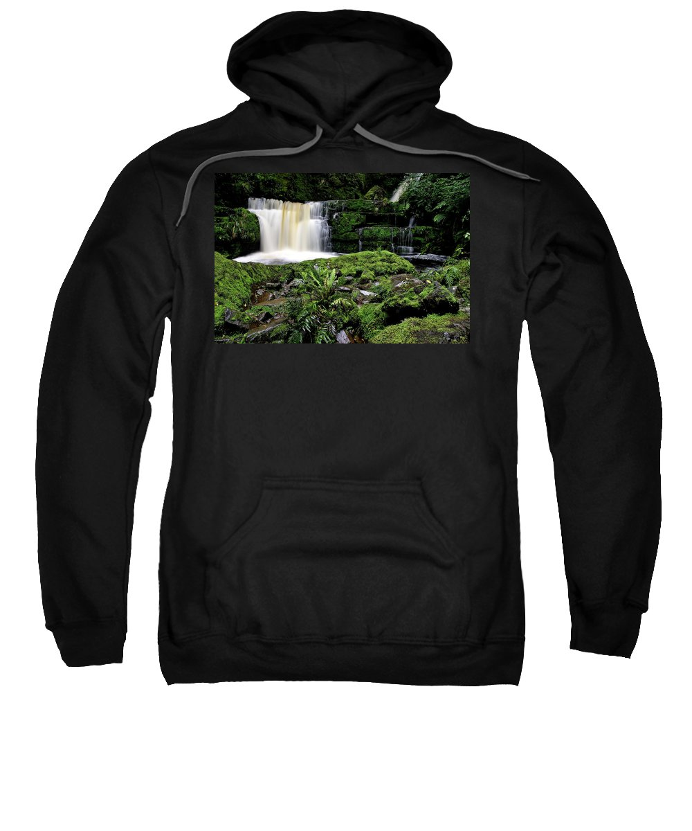 Water Sweatshirt featuring the digital art Mclean Falls In Southland New Zealand by Mark Duffy