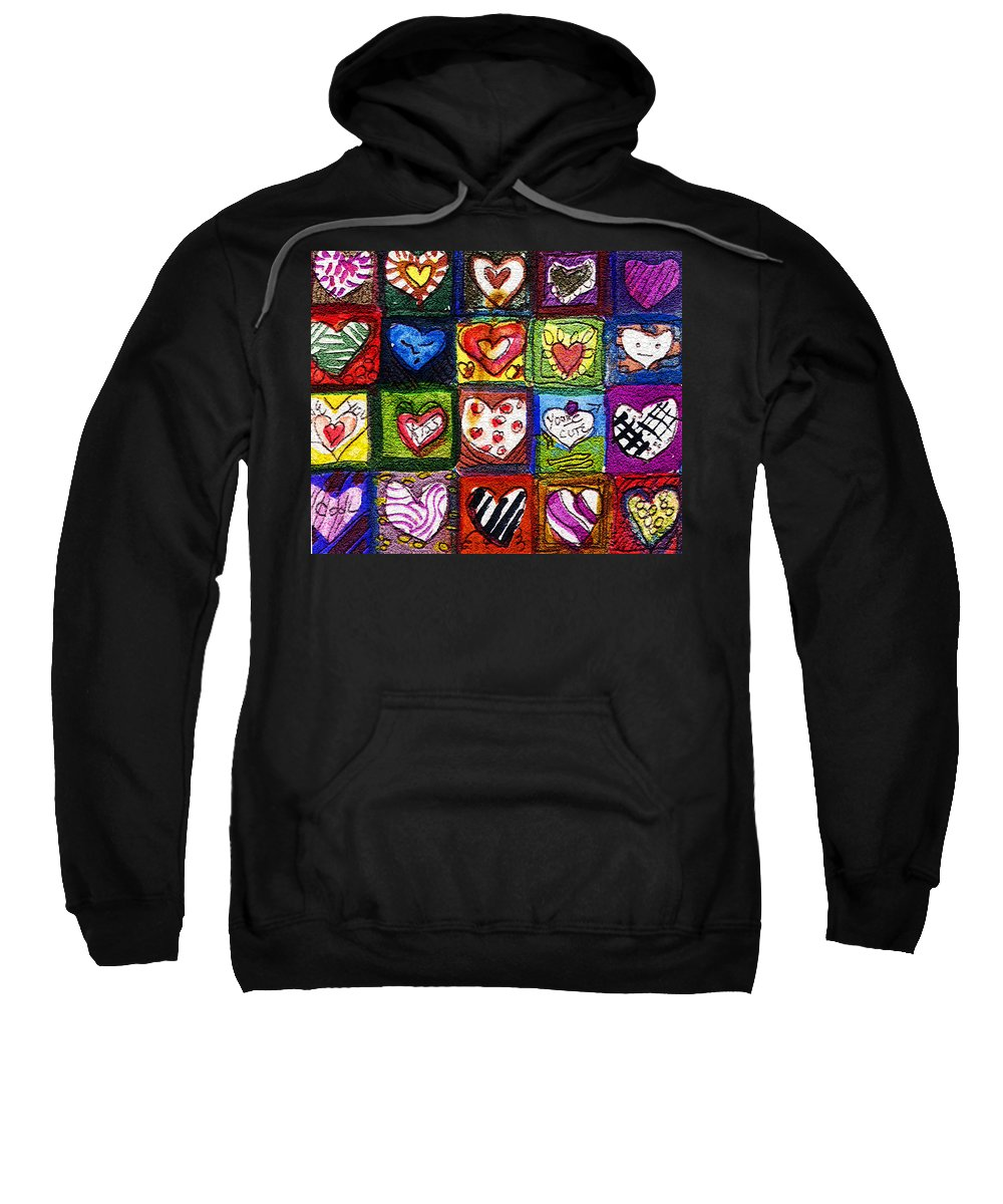 Hearts Sweatshirt featuring the painting Me Luv by Mindy Newman