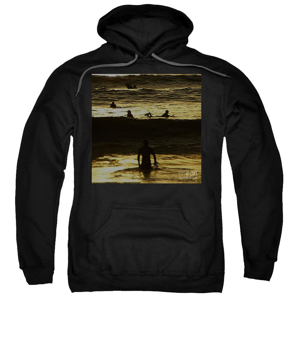 Ocean Sweatshirt featuring the photograph Meditari - Gold by Linda Shafer
