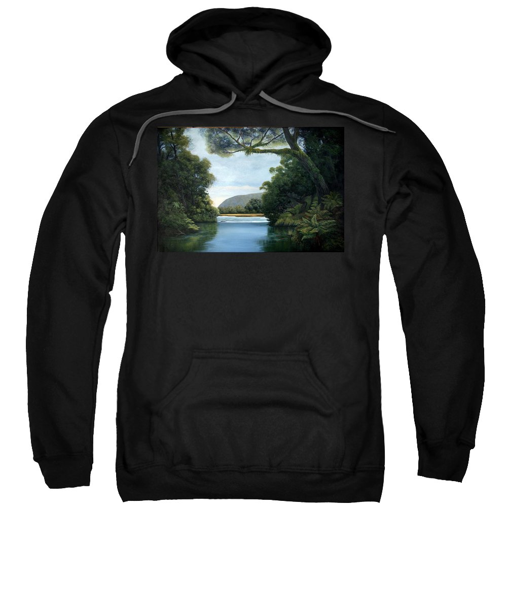 New Zealand Artist Sweatshirt featuring the painting Meeting Of The Waters by Lorna Allan